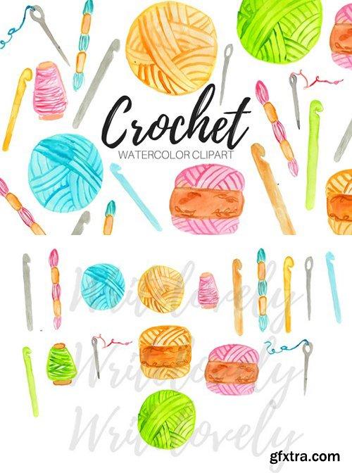 CM - Watercolor Crochet Clipart 2405003