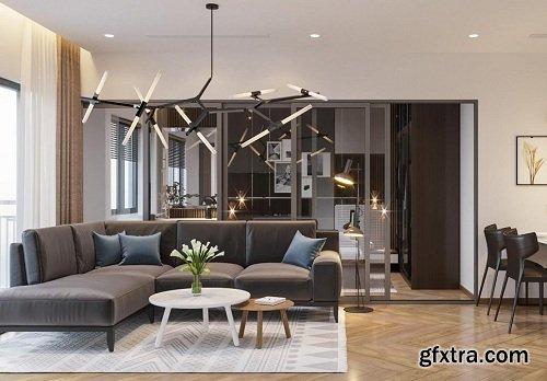 Living Room 3D Interior Scene 29
