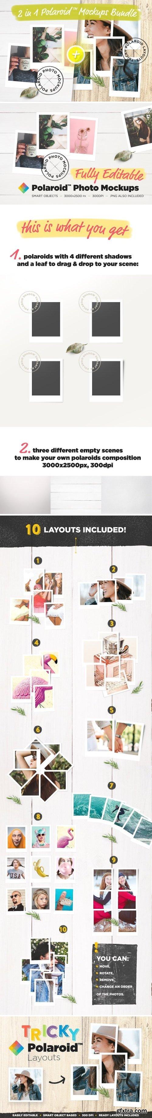 CM - 2 in 1 Polaroid™ Mockups Bundle 1578428
