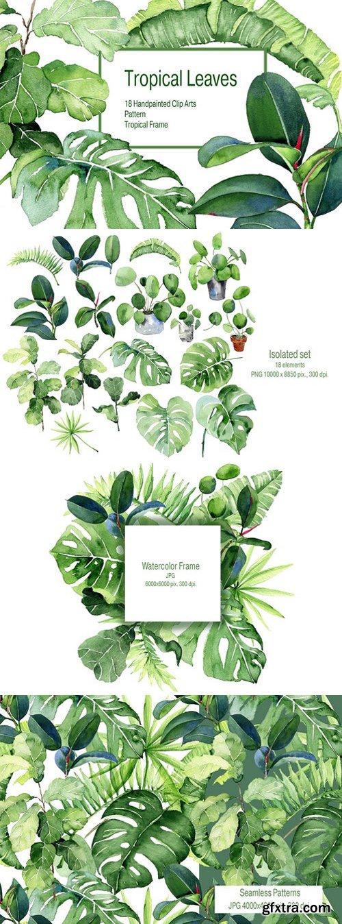 CM - Tropical Leaves Watercolor Clipart 2400530