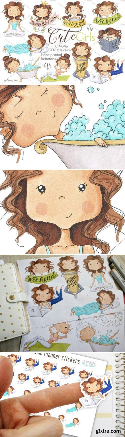 CM - Hand-Painted Clipart Cute girls 1567705