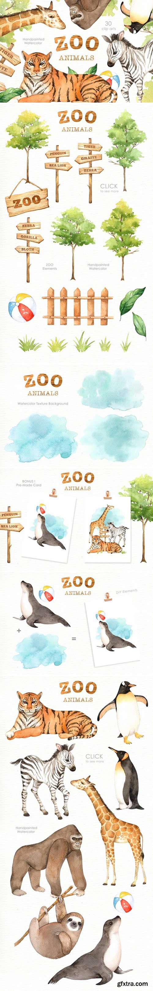 CM - Zoo Animals Watercolor clipart 2401054