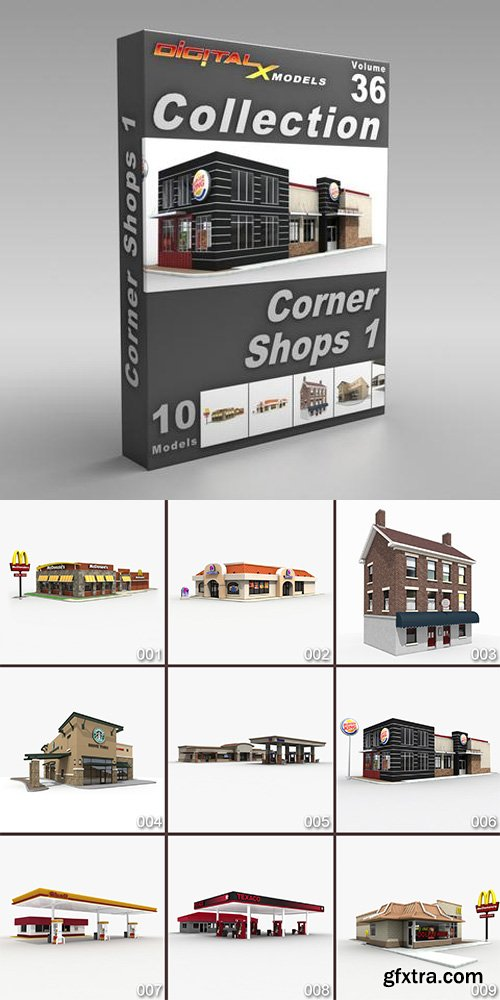 DigitalXModels - 3D Model Collection - Volume 36: CORNER SHOPS 1