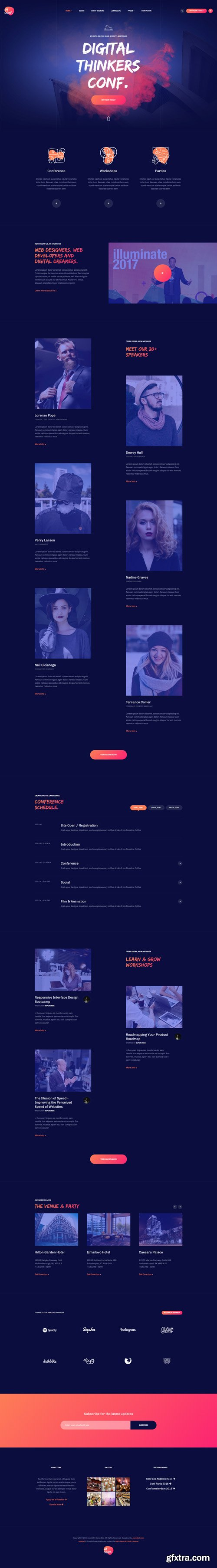 JoomlArt - JA Conf v1.0.2 - Creative and Modern Joomla template for Event and Conference website
