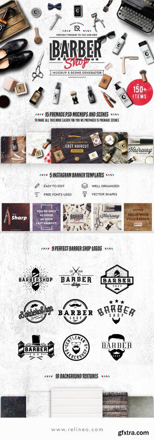 CreativeMarket Barber Shop - Mockup Generator 2430479