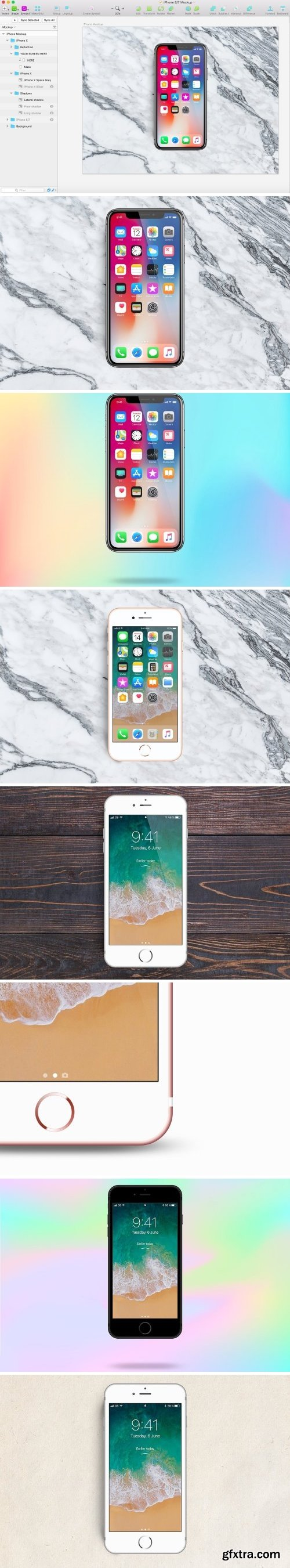 CM - iPhone X, 8 and 7 Mockup • Sketch 1611410