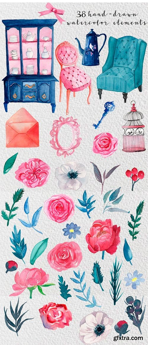 CM - Furniture & Flowers Watercolor Set 2384949
