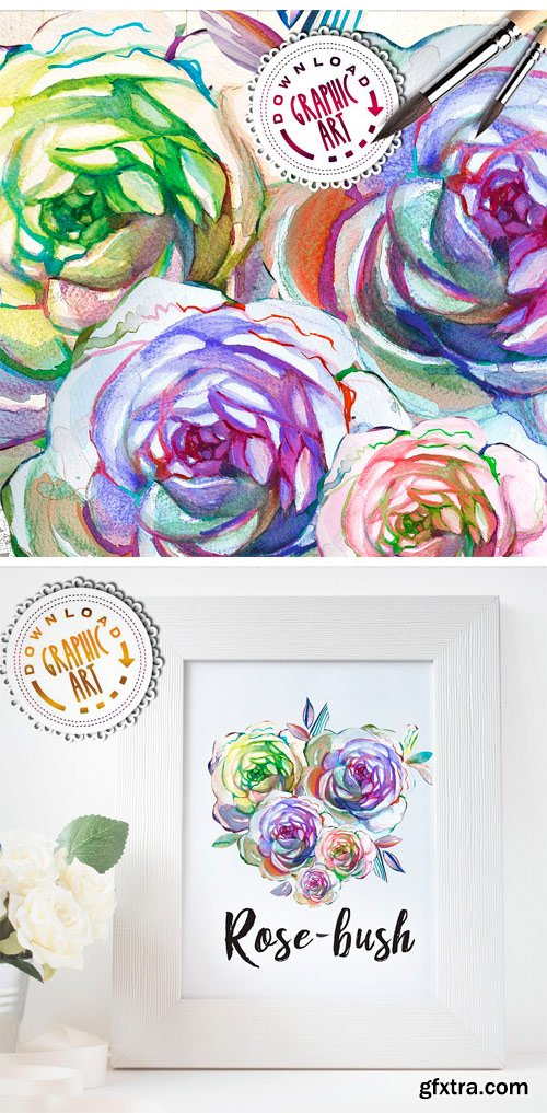 CM - Watercolor Clipart; Rose Wreath 2391544
