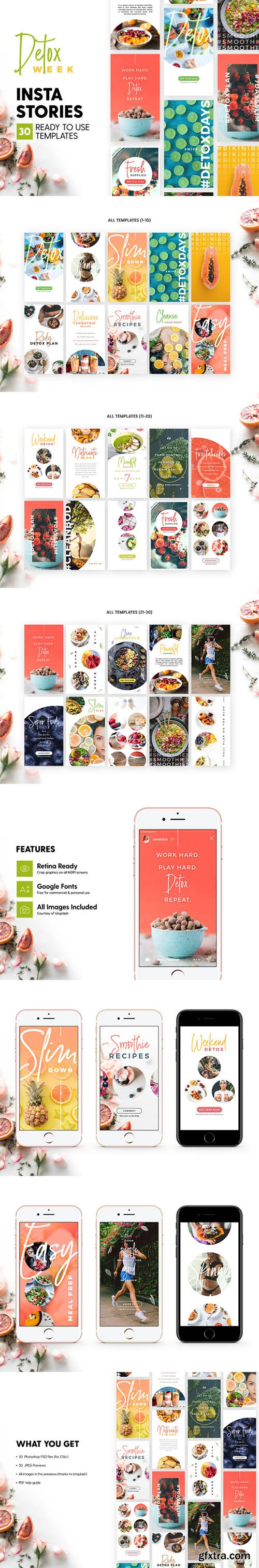 Detox Week Insta Stories - 30 Photoshop Templates for Delicious Instagram Stories