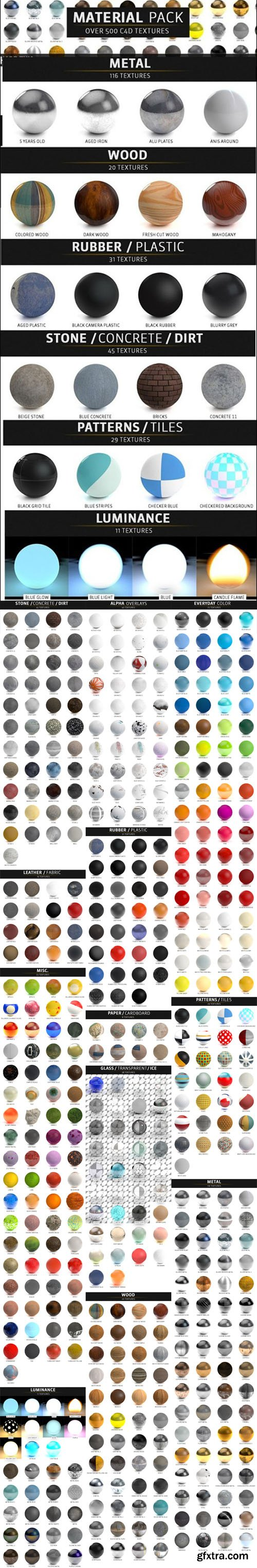 500+ Material Pack - Cinema 4D Textures (lib4d)