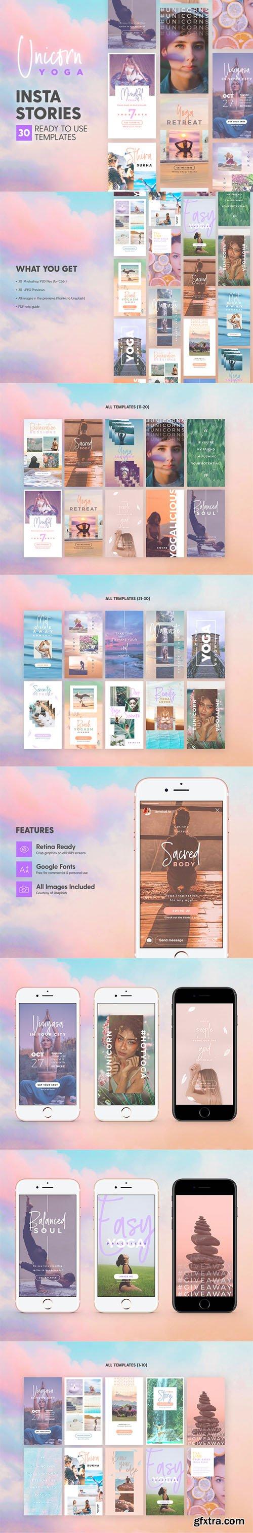 Unicorn Yoga Insta Stories - 30 Photoshop Templates for Modern Instagram Stories