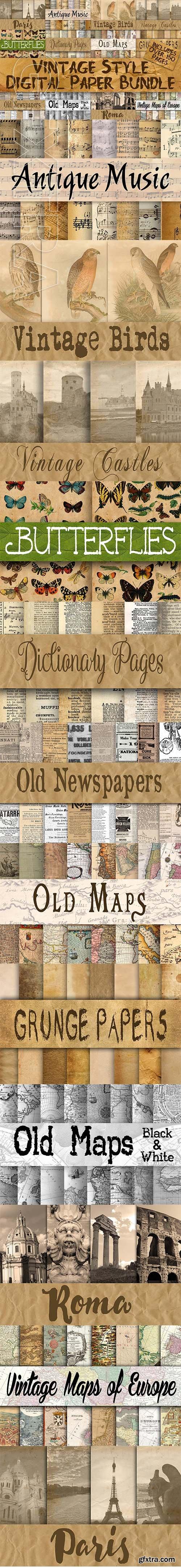 CreativeMarket - Vintage Style Digital Paper Bundle 2555823