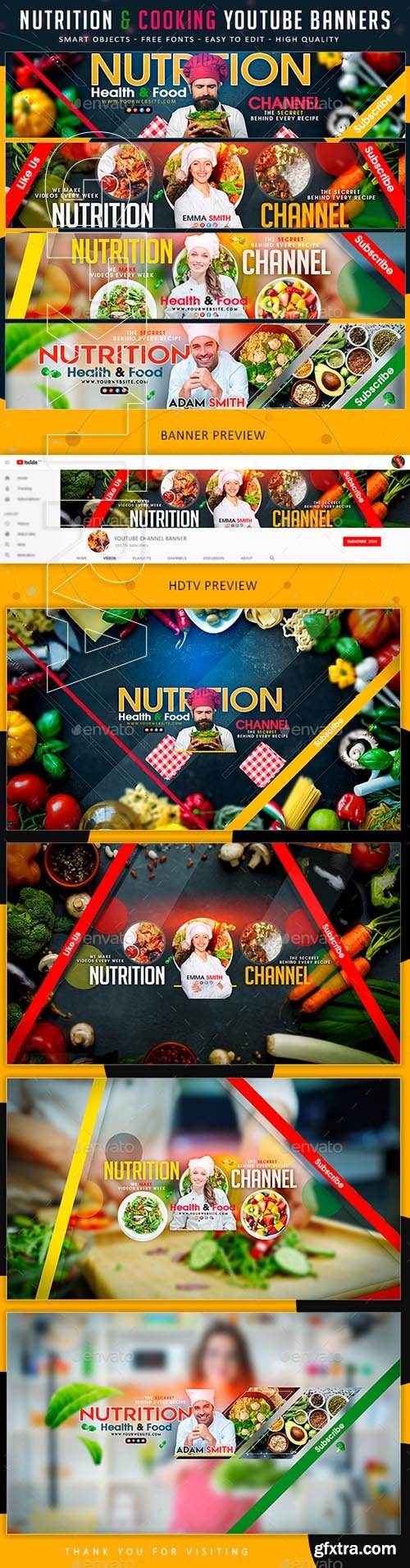 GraphicRiver - Nutrition & Cooking YouTube Banner 21925512