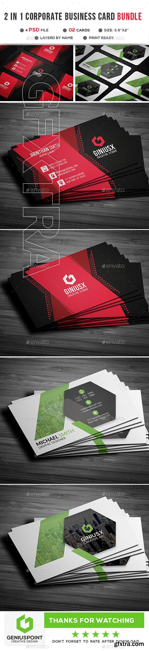 GraphicRiver - 2 in 1 Corporate Business Card 21903590