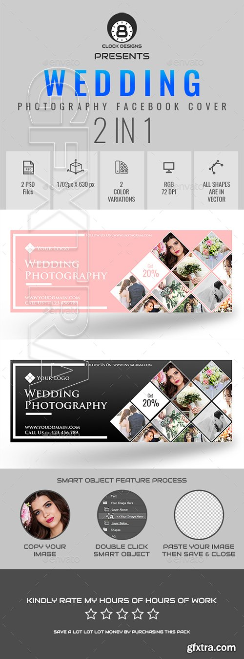 GraphicRiver - Wedding Photography Facebook Timeline Cover ( 2 in 1 ) 21914214