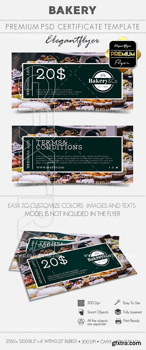 Bakery – Gift Certificate PSD Template