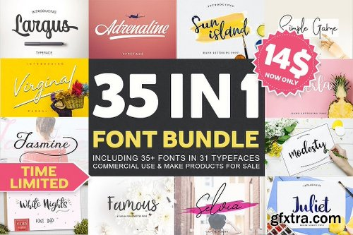 CreativeMarket 35 IN 1 Font Bundle SALE! 2542760