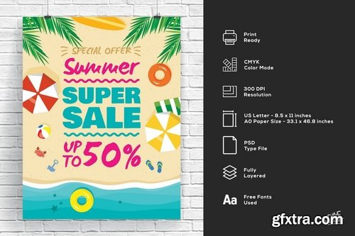 Summer Beach Super Sale Poster And Flyer