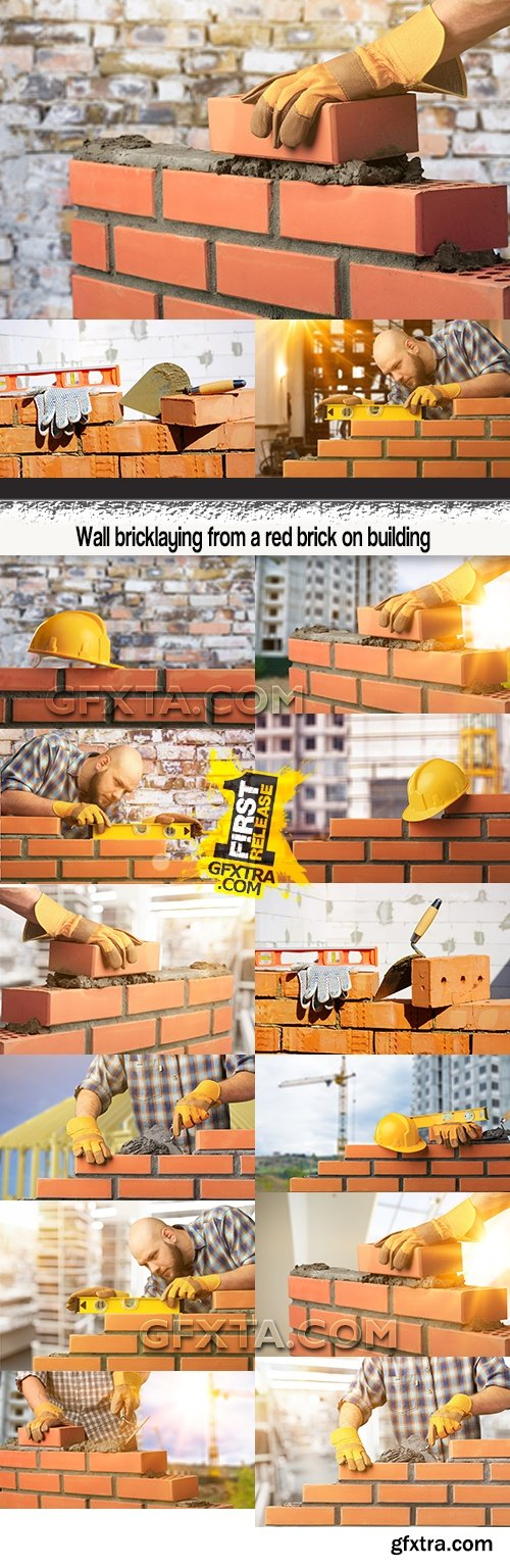 Wall bricklaying from a red brick on building