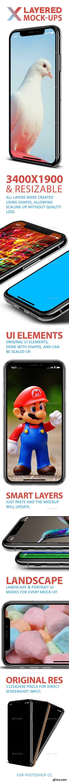 Phone X 5 Layered PSD Mock-Ups Silver & Gold 21931265