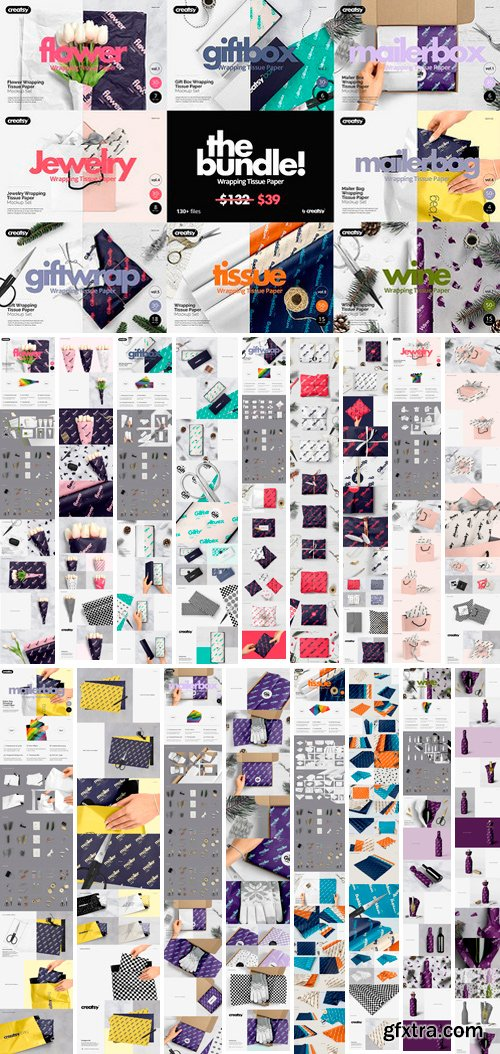 CM - Wrapping Tissue Paper Mockup Bundle 2143283