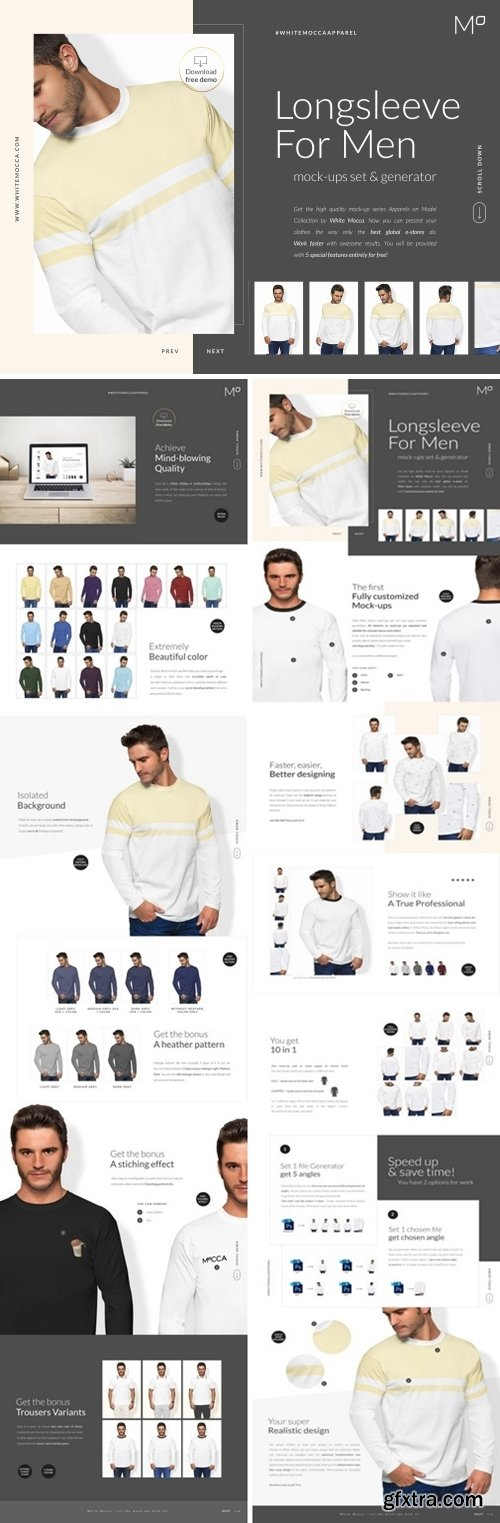 CM - Men Longsleeve Mockups Set FREE DEMO 2496205