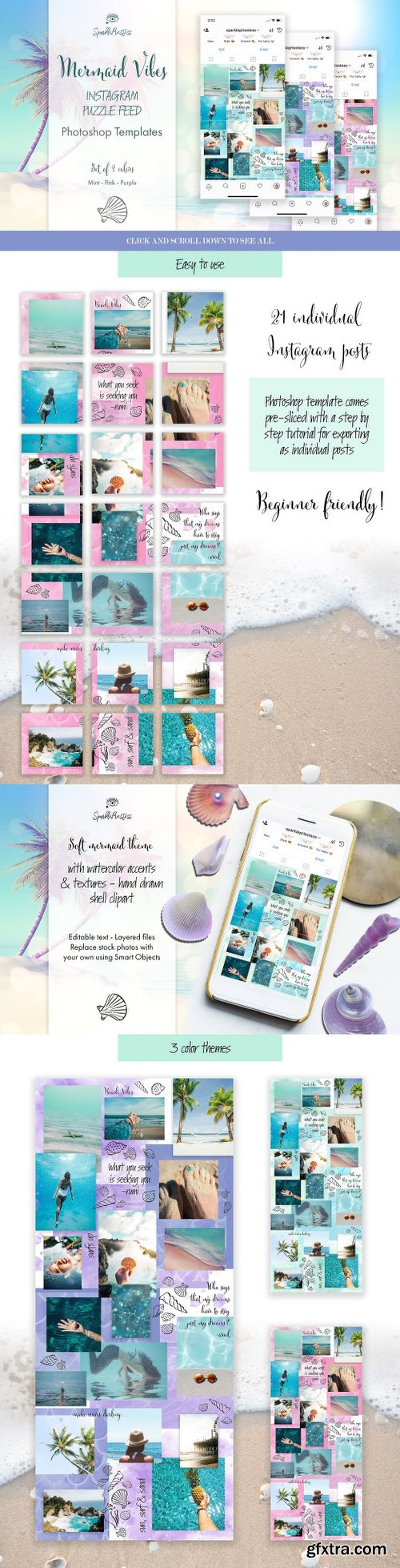 CreativeMarket Mermaid Vibes Instagram Puzzle Feed 2546799