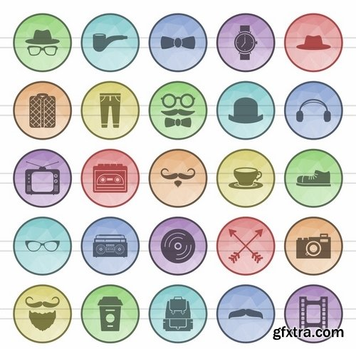 Schooling Electric - Circuits - Sea - Hipster - Astronomy Filled Low Poly Icons