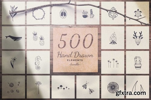 CM - 500 Hand Drawn Elements -Bundle- 2488996