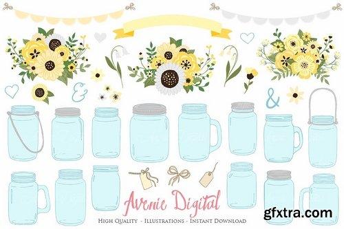 CM - Yellow Floral Mason Jars Cliparts 2521558