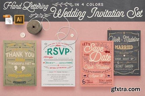 Vintage Hand Lettering Invitation Set