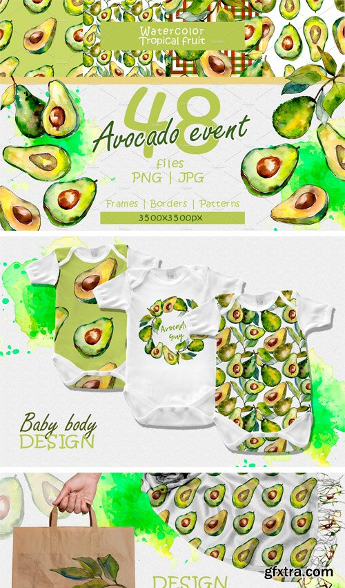 CM - Avocado Event PNG Watercolor Set 2392606