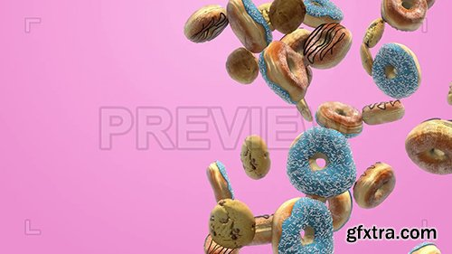 Donuts Float Upward On A Pink Background 82439