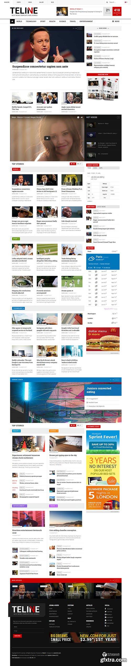 JoomlArt - JA Teline V v1.1.4 - Best Joomla News Template