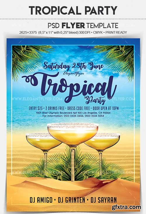 Tropical Party V4 2018 Flyer PSD Template