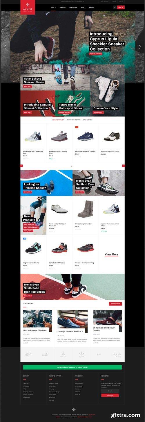 JoomlArt - JA Shoe Store v1.0.2 - Powerful eCommerce Joomla Template for Shoe Store website