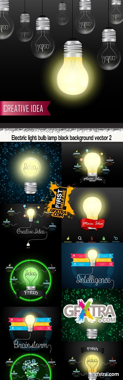 Electric light bulb lamp black background vector 2