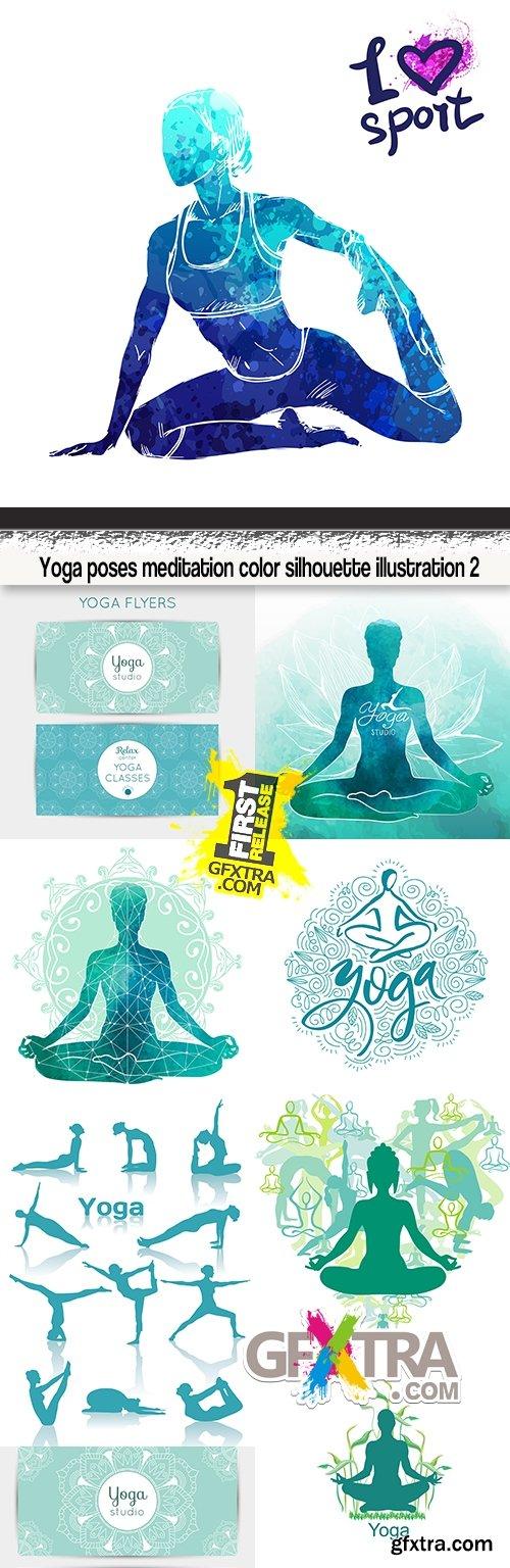 Yoga poses meditation color silhouette illustration 2