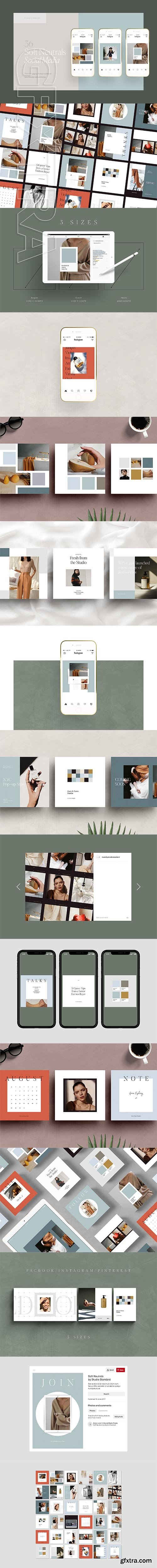 CreativeMarket - SOFT NEUTRALS - Social Media Pack 2568313