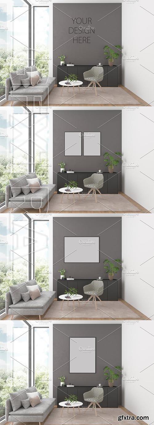 CreativeMarket - Artwork background Interior mockup 2582851