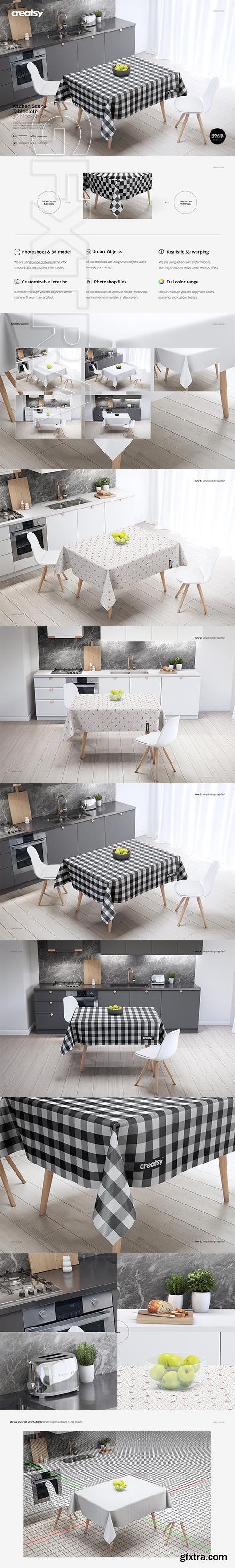 CreativeMarket - Kitchen Scene PVC Tablecloth Mockup 2583126