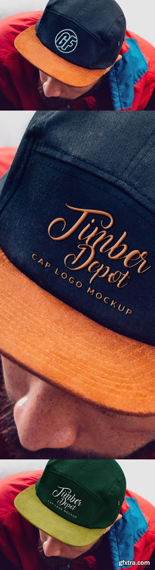 Cap With Realistic Embroidered Logo PSD Mockup