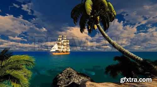 Sailing Ship In The Bay - Motion Graphics 83436