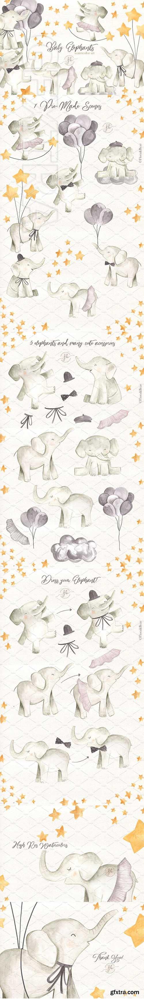 CreativeMarket - Baby Elephants 2523323