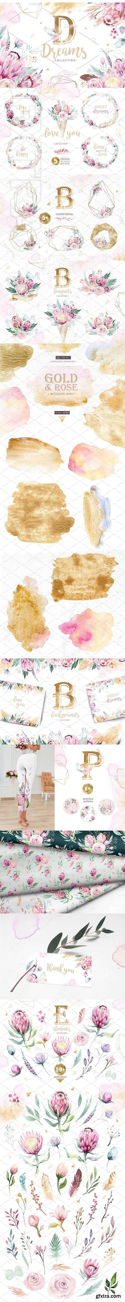 CreativeMarket - Dreams collection Gold protea 2569742