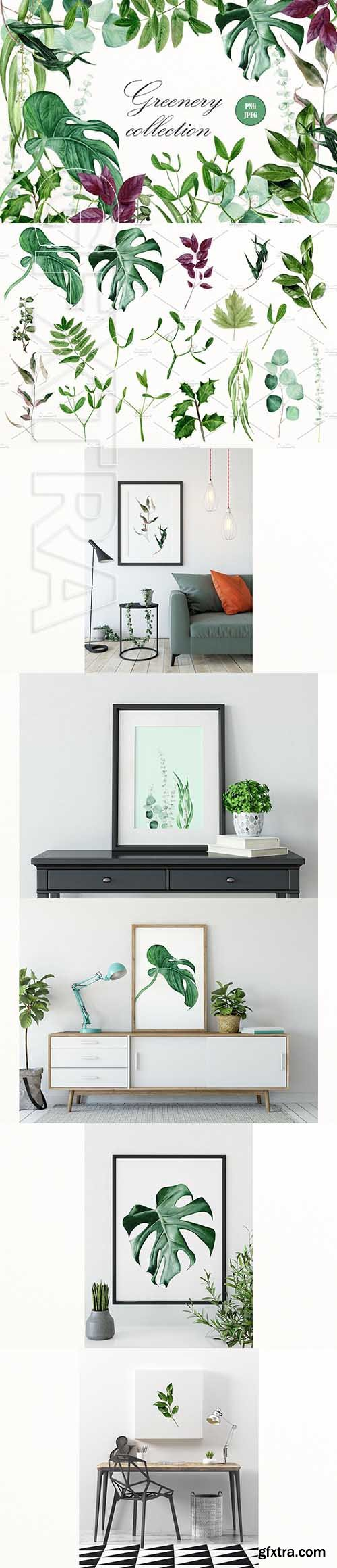 CreativeMarket - Greenery watercolor collection 2579060