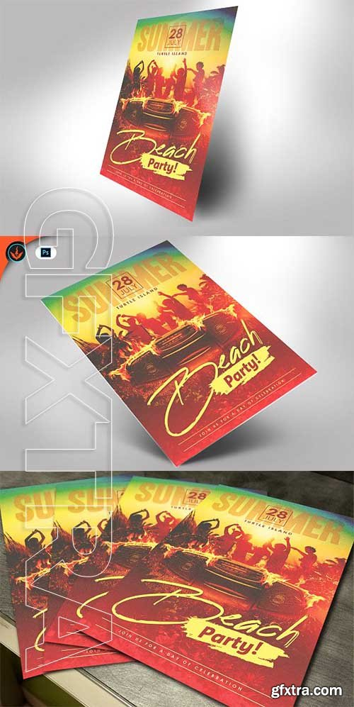 CreativeMarket - Beach Party Flyer Template 2583067