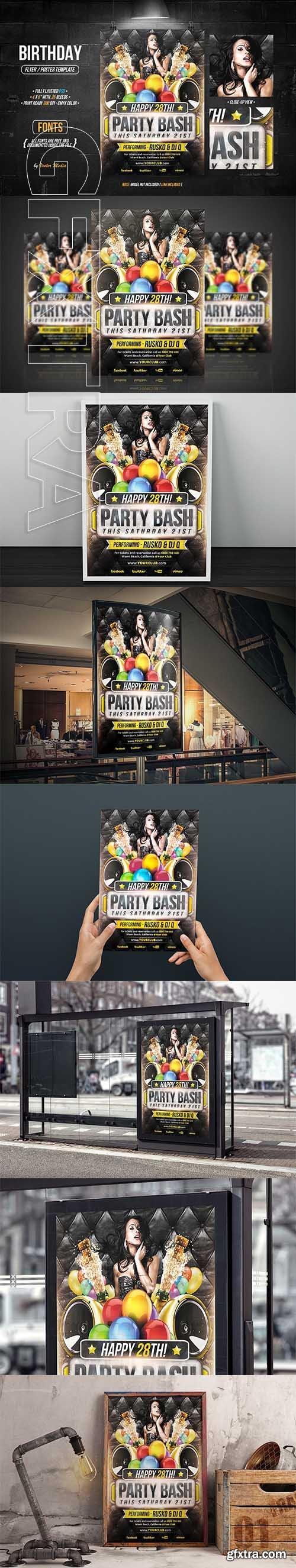 CreativeMarket - Birthday - Flyer Poster 2580741