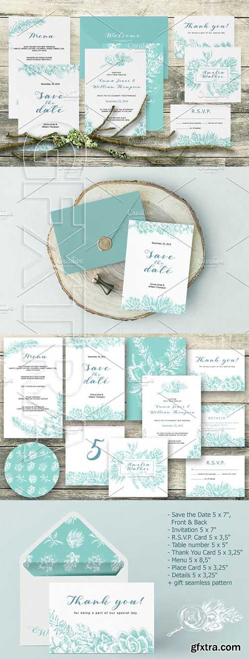 CreativeMarket - Wedding collection with succulents 2576487