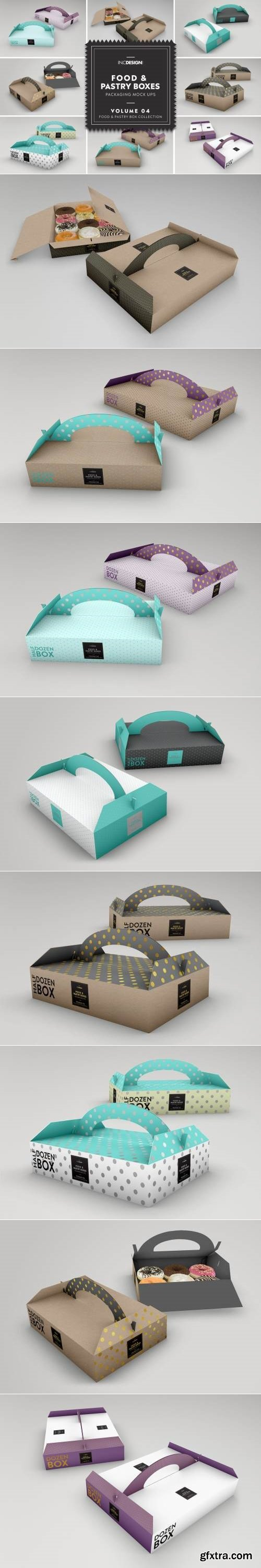 Food Pastry Boxes Vol.4: Packaging Mockups